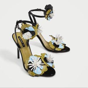 New zara high heel sandals with floral details